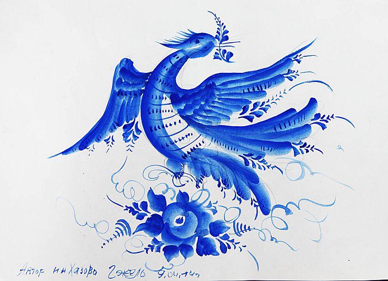 Сказочная птица в росписи